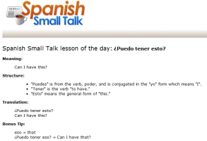 Spanish Small Talk Daily Newsletter